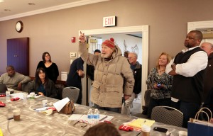 Legendary folk singer Pete Seeger stopped by the Great Lakes-Midwest Joint Council Meeting in Buffalo on Nov. 9. Photo by David Carson.