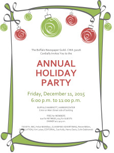 Holiday party invitation with red and green ornaments (Informal