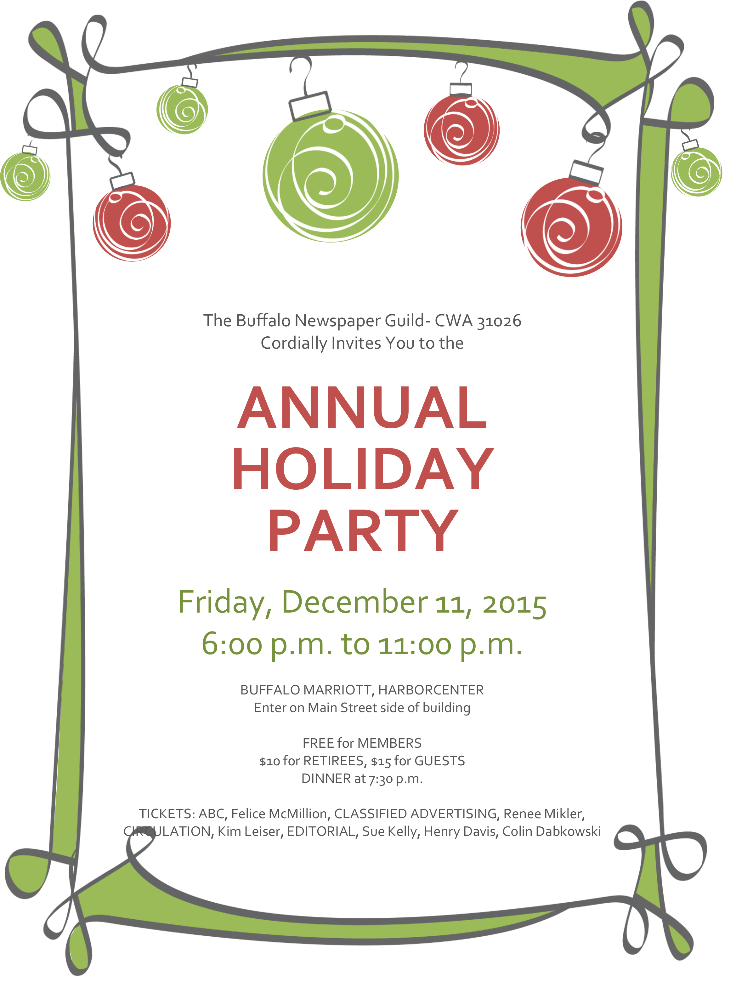 holiday party dec 11 buffalo newspaper guild holiday party invitation red and green or nts informal
