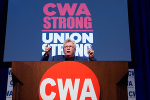 CWA President Chris Shelton speaks at the 76th CWA Convention in Pittsburgh. (Photo courtesy of CWA)
