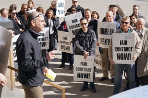 Guild members rallied April 1 in front of The Buffalo News building.